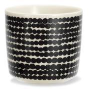 Räsymatto korvaton kahvikuppi musta-valkoinen